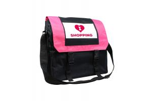 Nylon postman bag 'I love shopping'